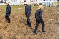 Muddy Fields com Amish fotos de stock
