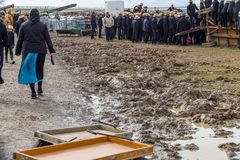 Muddy Fields på gyttja Sale Arkivbild