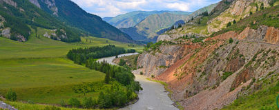 Muddy mountain river from melting snow flowing from the glacier peaks. Chuya River, Chuisky tract, Gorny Altai, Siberia Stock Photos