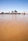 Muddy Ohio River After Flooding Vertical Skyline Louisville Kentucky Royalty Free Stock Photography