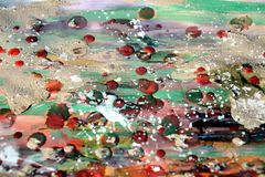 Muddy painting watercolor hues, spots, abstract background Stock Photos
