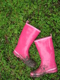Muddy Pink Boots. Muddy hot pink boots with a green foliage background Stock Image