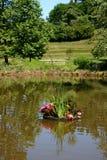 Muddy Pond, Footbridge & Flowers stock photography