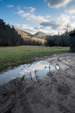 Muddy Puddle in Cataloochee Valley Royalty Free Stock Images
