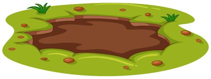 Muddy puddle on the ground. Illustration vector illustration