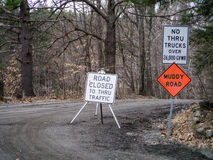 Muddy Road Closed in Spring Thaw Royalty Free Stock Photography