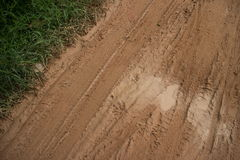Muddy Road mit diagonalem Reifen spürt grasartige Seitenvegetation und sandige Flecken auf Lizenzfreies Stockfoto