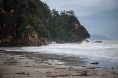 Muddy sea beach. On the way to Bako National Park - Borneo , Sarawak Malaysia Stock Image