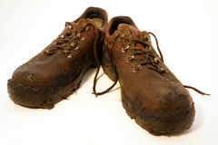 Muddy shoes gardener Royalty Free Stock Photo