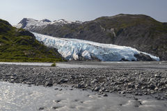 Muddy Stream with Portage Glacier in the background Royalty Free Stock Images