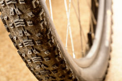 Muddy tire. Of a mountain bicycle stock images