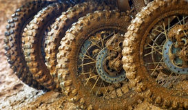Muddy tires. Of motocross racers Stock Photography