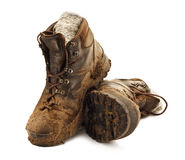 Muddy Trekking Boots Royalty Free Stock Image