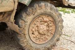 Muddy truck tyre wheel Royalty Free Stock Photos