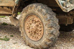 Muddy truck tyre wheel Royalty Free Stock Images