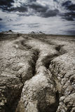 Muddy volcano mountains stock photography