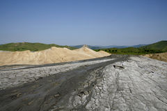 Muddy volcanos landscape stock images
