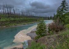 Muddy Water Flows in i klar blå liten vik på regnig dag Fotografering för Bildbyråer