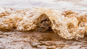 Muddy Water Waves Hitting ein Felsen, Panshet stockfotos