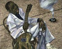 Muddy Waters,oil painting, artist Roman Nogin, series `Sounds of Jazz.` Stock Images