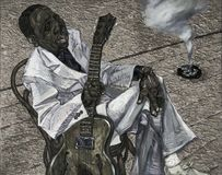 Muddy Waters,oil painting, artist Roman Nogin, series `Sounds of Jazz.` Stock Photo