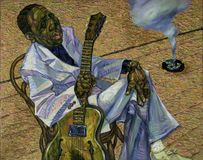 Muddy Waters,oil painting, artist Roman Nogin, series `Sounds of Jazz.` Stock Photography