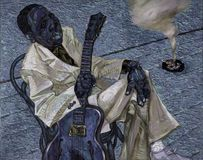 Muddy Waters,oil painting, artist Roman Nogin, series `Sounds of Jazz.` Royalty Free Stock Photos