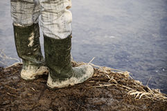 Muddy wellingtons Royalty Free Stock Image