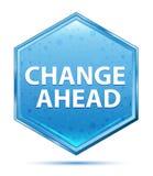 Mude adiante o botão azul de cristal do hexágono ilustração royalty free