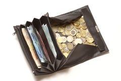 Mude a bolsa com euro- moedas e contas Imagens de Stock Royalty Free