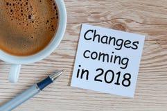 Mude está vindo em 2018 text na mensagem no local de trabalho com o copo de café da manhã Fotografia de Stock