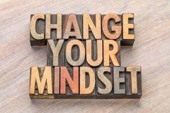 Mude seu mindset no tipo de madeira Fotografia de Stock Royalty Free
