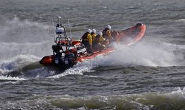 Mudeford Servant Lifeboat in Christchurch. Lifeboat manoeuvres off Mudeford Quay Royalty Free Stock Photography