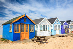 Mudeford Spit Beach Huts Stock Photo