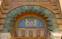Mudejar arch. Mudejar Pavilion built for the Ibero-American Exposition of 1929 at Seville, Spain Stock Image