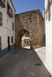 Mudejar door in a narrow street Stock Image
