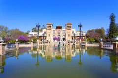 The mudejar pavilion and pond placed in the Plaza de America, ho. Uses the Museum of Arts and Traditions of Sevilla, Andalusia, Spain Stock Photo