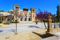 The mudejar pavilion and pond placed in the Plaza de America, ho. Uses the Museum of Arts and Traditions of Sevilla, Andalusia, Spain Royalty Free Stock Photography