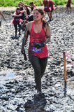 2014 Muderrella Contestant crossing Mud Pit. Runner crossing the mud pits at 2014 Muderrella Mud Race at Vail Lakes Resort in Temecula, California Stock Photos