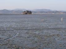 Mudflats dans la région de Mokpo photographie stock libre de droits