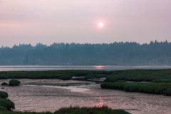 Mudflats and wetlands under sunset in hazy smoke filled skys. Of summer stock photo