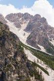 Mudflow med snöhöjdpunkt i de alpina bergen royaltyfri fotografi