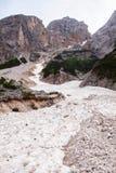 Mudflow med snöhöjdpunkt i de alpina bergen arkivfoto