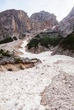Mudflow with snow high in the Alpine mountains stock photo