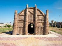 Mudhif det traditionella irakiska vasshuset av Marsh Arabs aka Madan använde för gästhus och för ceremonier, Majnoon, Irak, Mella arkivbild
