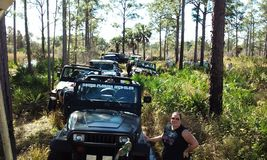 Jeep rally in the wetlands. A muding rally with the jeeps in the everglades stock photography