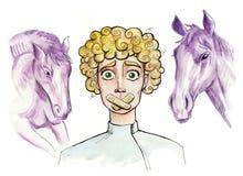 Mudo Ilustração de um menino com Band-Aid sobre sua boca ilustração do vetor