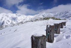 Mudoro-Feld im November mit Schneegebirgshintergrund Stockbilder