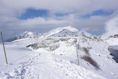 Mudoro-Feld im November mit Schneegebirgshintergrund Stockbild