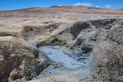 Mudpools in Geysers Sol Manana, Sur Lipez, South Bolivia Royalty Free Stock Images